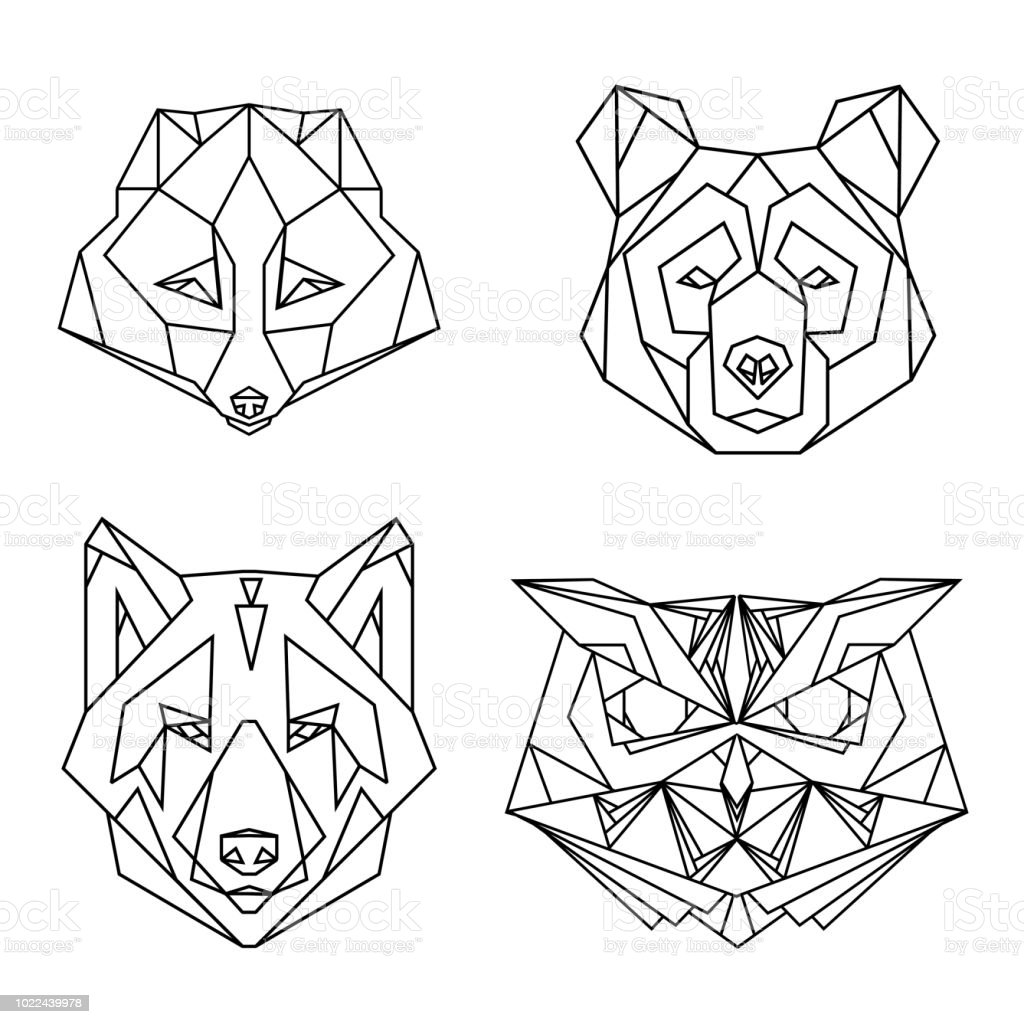 b5e83ac74 Geometric set of four vector animal heads: fox, bear, wolf, owl, drawn in  line or triangle style, suitable for modern tattoo polygonal templates, ...