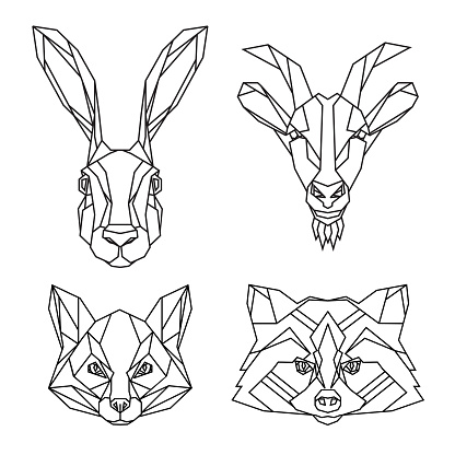 Geometric set of hare, goat, fox and raccoon vector animal heads drawn in line or triangle style, suitable for modern tattoo templates, icons or logo elements.