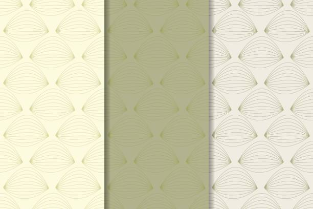 Bекторная иллюстрация Geometric set of olive green seamless patterns for design