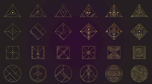 geometric shape, abstract set of vector deco gold frames. hipster trendy line style 1920 design. luxury cover graphic poster brochure design. elegant logo and icon. mystery tribal illustration art - lodge member stock illustrations