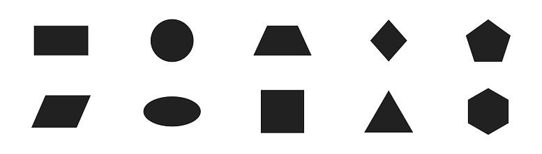 Geometric shape icon set. Geometry figure collection.