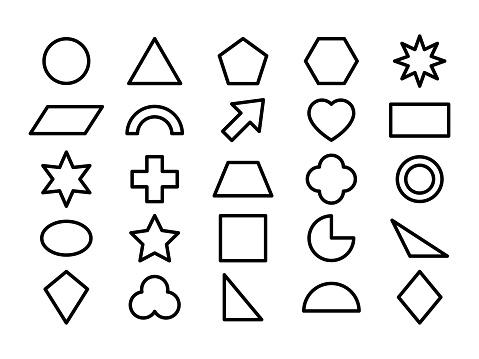 Geometric shape line icon set