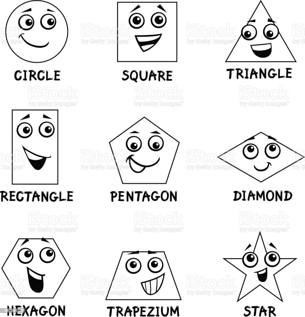 Geometrik Sekiller Boyama Kitabi Stok Vektor Sanati Altigen Nin