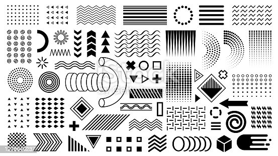 Geometric shapes, design elements. Flat shapes black layout. Zigzags, waves, circles, points. For cover design overlay, busyness card, brochure, banner, flyer.
