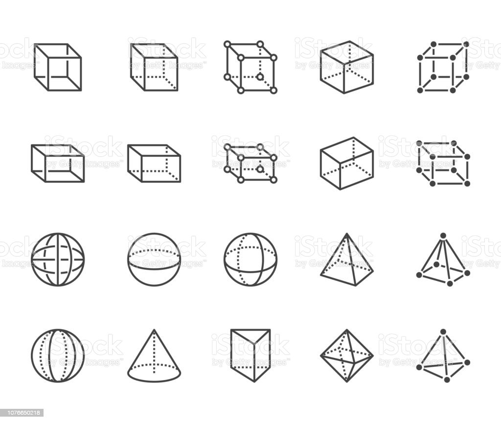 Geometric shapes flat line icons set. Abstract figures cube, sphere, cone, prism vector illustrations. Thin signs for geometry education, prototype development. Pixel perfect 64x64. Editable Strokes - arte vettoriale royalty-free di Astratto