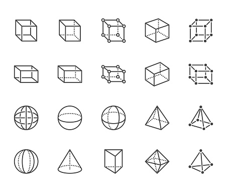 Geometric shapes flat line icons set. Abstract figures cube, sphere, cone, prism vector illustrations. Thin signs for geometry education, prototype development. Pixel perfect 64x64. Editable Strokes