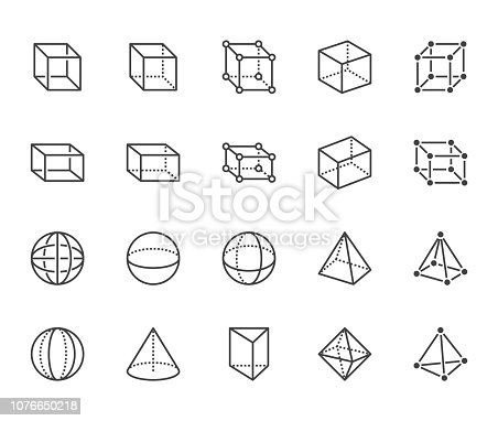 Geometric shapes flat line icons set. Abstract figures cube, sphere, cone, prism vector illustrations. Thin signs for geometry education, prototype development. Pixel perfect 64x64. Editable Strokes.