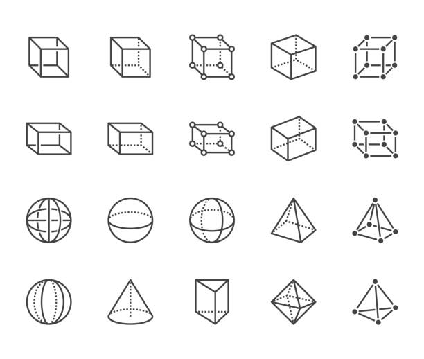Geometric shapes flat line icons set. Abstract figures cube, sphere, cone, prism vector illustrations. Thin signs for geometry education, prototype development. Pixel perfect 64x64. Editable Strokes Geometric shapes flat line icons set. Abstract figures cube, sphere, cone, prism vector illustrations. Thin signs for geometry education, prototype development. Pixel perfect 64x64. Editable Strokes. cube shape stock illustrations
