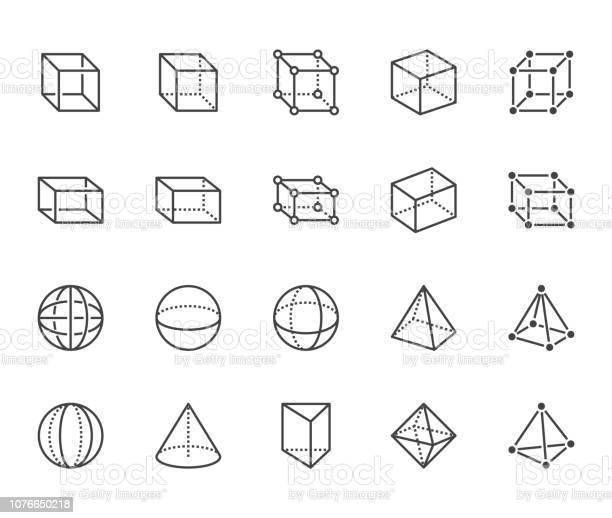 Geometric Shapes Flat Line Icons Set Abstract Figures Cube Sphere Cone Prism Vector Illustrations Thin Signs For Geometry Education Prototype Development Pixel Perfect 64x64 Editable Strokes - Immagini vettoriali stock e altre immagini di Astratto