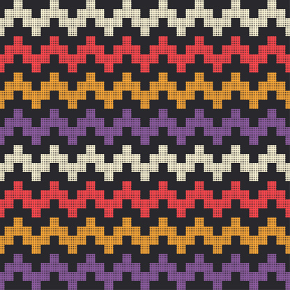 Geometric shapes from points. Mexican plaid. Seamless pattern. Design with manual hatching.