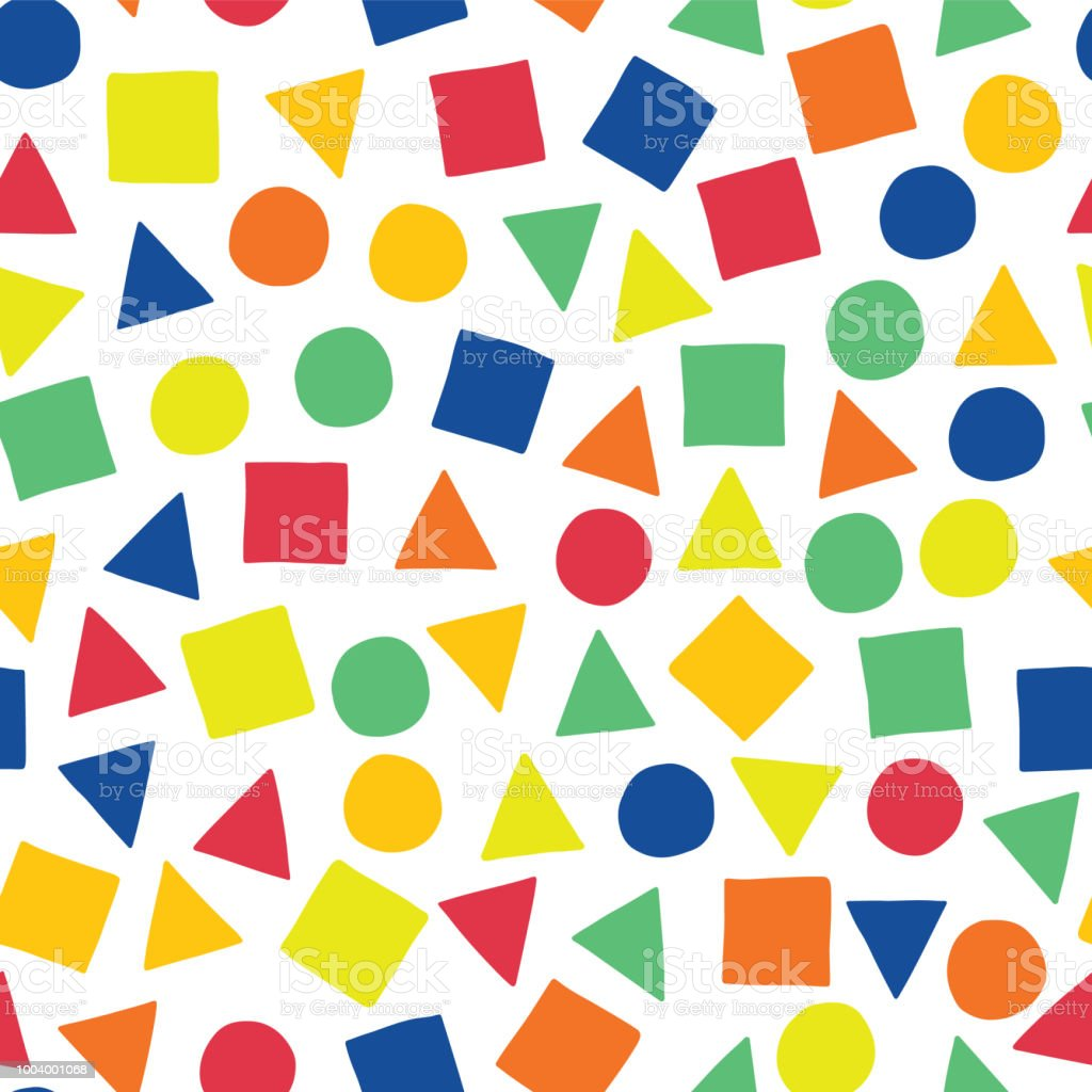 Geometric shapes hand-drawn vector seamless pattern. Scattered squares, triangles, and circles in blue, orange, red, green, and yellow on a white background. Perfect for fabric, all kinds of paper projects, and packaging. vector art illustration
