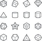 Geometric Shapes Icon Bold Stroke on White Background. Vector Illustration