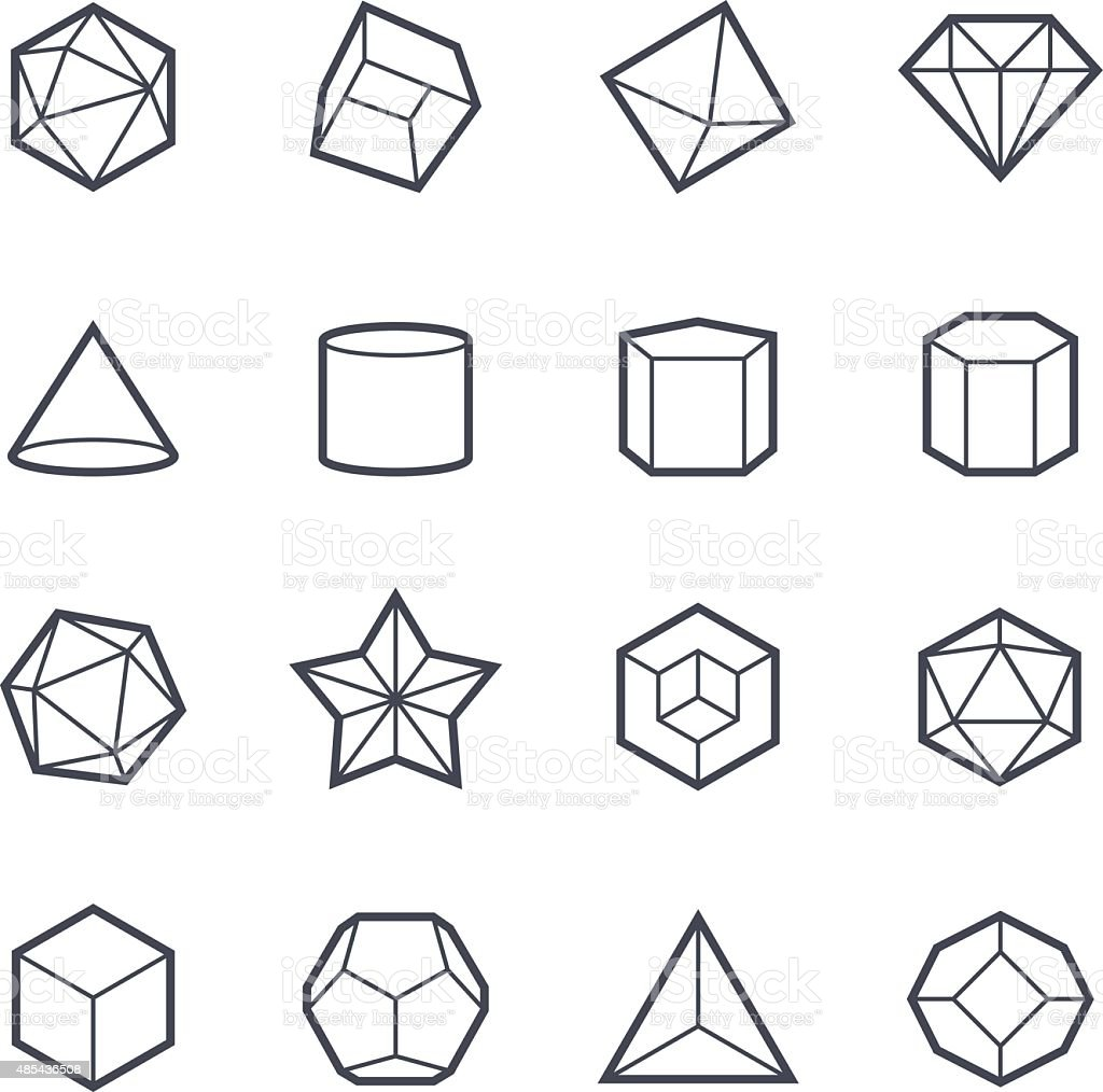Geometric Shapes Icon Bold Stroke vector art illustration