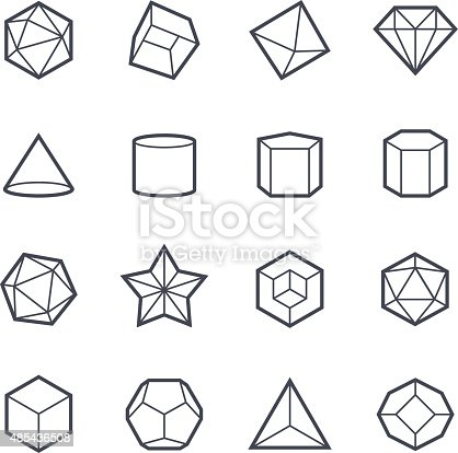 Geometric Shapes Icon Bold Stroke Stock Vector Art & More