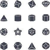 Geometric Shapes Icon on White Background. Vector Illustration
