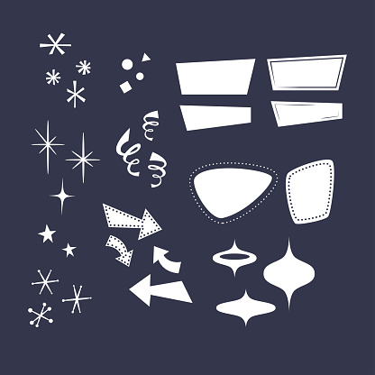 Geometric shapes in the style of the 50s: arrows, rhombuses, lines, clouds, stars, snowflakes, triangles. Overlays, comic style forms.