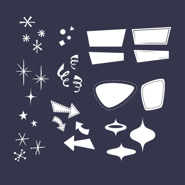 stockillustraties, clipart, cartoons en iconen met geometrische vormen in de stijl van de jaren ' 50: pijlen, rhombuses, lijnen, wolken, sterren, sneeuwvlokken, driehoeken. overlays, komische stijl vormen. - vorm