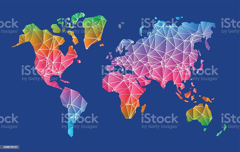 Geometric shapes low poly design world map stock vector art more geometric shapes low poly design world map royalty free geometric shapes low poly design world gumiabroncs