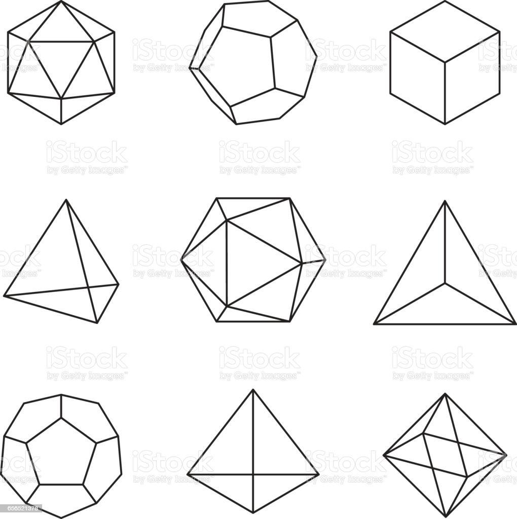 Geometric Shapes Platonic Solids Stock Vector Art & More ... Platonic Solids Art