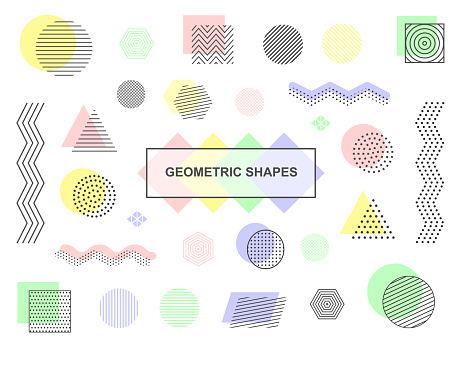 Geometric shapes - set of blue, green, pink and yellow objects. Retro collection of vector elements.