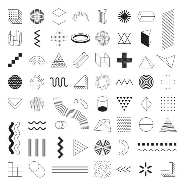 Geometric Shapes Set Vector - Geometric Shapes Set Vector design element stock illustrations