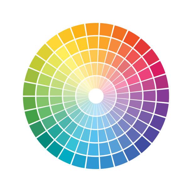 kształty geometryczne, które tworzy koncentryczne okręgi. tęczowe spektrum kolorów pierścienie wyłożone kafelkami - kolory stock illustrations
