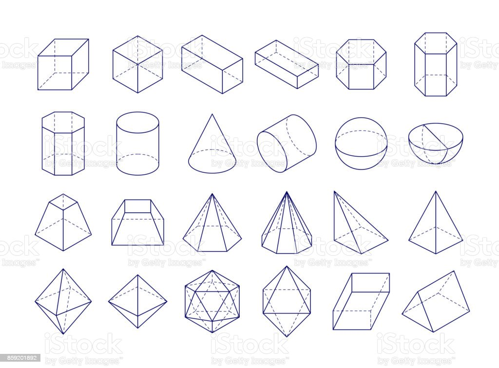 3D geometric shapes vector art illustration