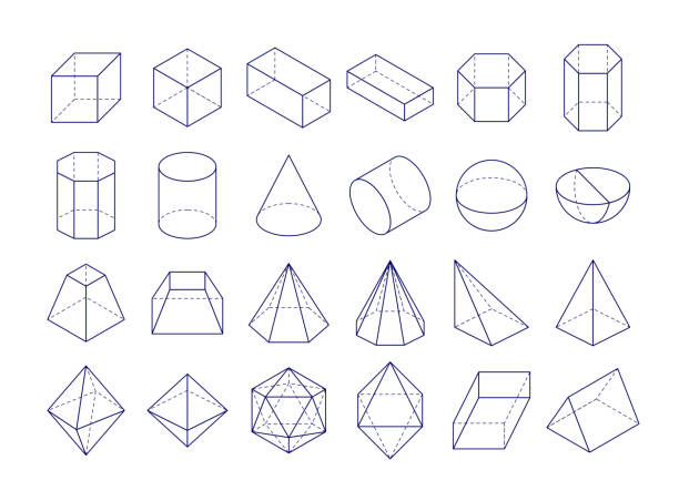 3D geometric shapes 3D geometric shapes. Outline objects, vector illustration eps 10 cylinder stock illustrations