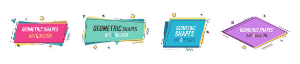 illustrazioni stock, clip art, cartoni animati e icone di tendenza di geometric shapes with abstract elements and place for text. vector graphic design illustrations for advertising, sales, marketing, design and art projects, posters, - xx° secolo