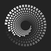 geometric shapes with different grayscale that makes a concentric dashed lines or circles. Halftone optical illusion effect. Vector element with copy space for design.
