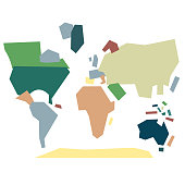 Vector illustration of a world map built with geometric shapes