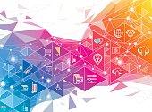 A geometric social media concept in rainbow color.
