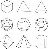 Geometric platonic solids.