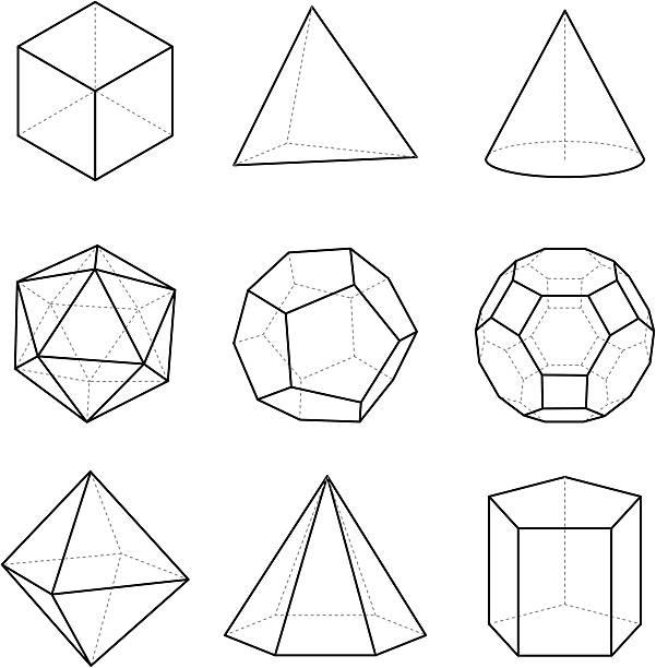 stockillustraties, clipart, cartoons en iconen met geometric solids - veelvlakkig