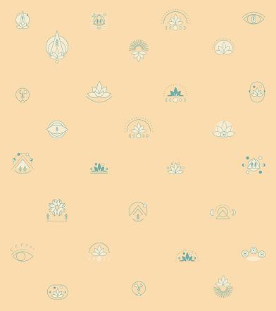 Geometric Spiritual Icon Set - Meditation Pattern - Sun Moon Nature Background