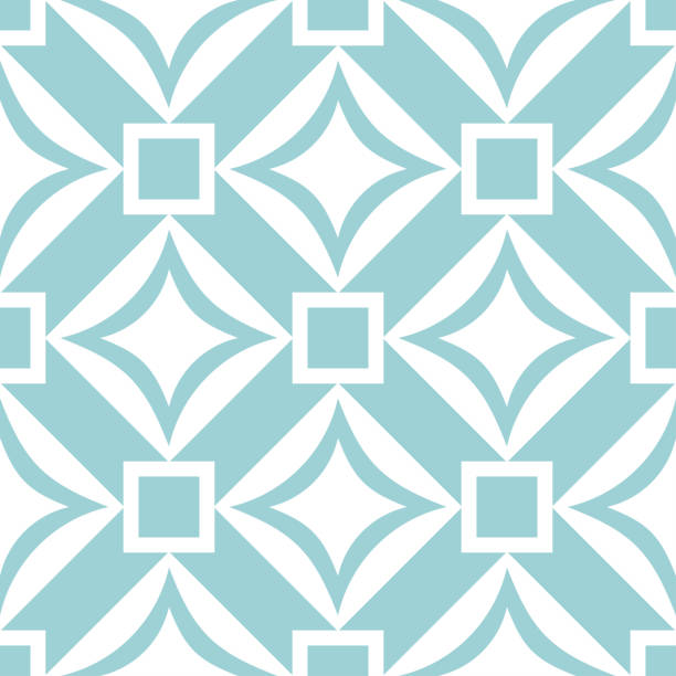 Geometric square seamless pattern. White design on blue background vector art illustration