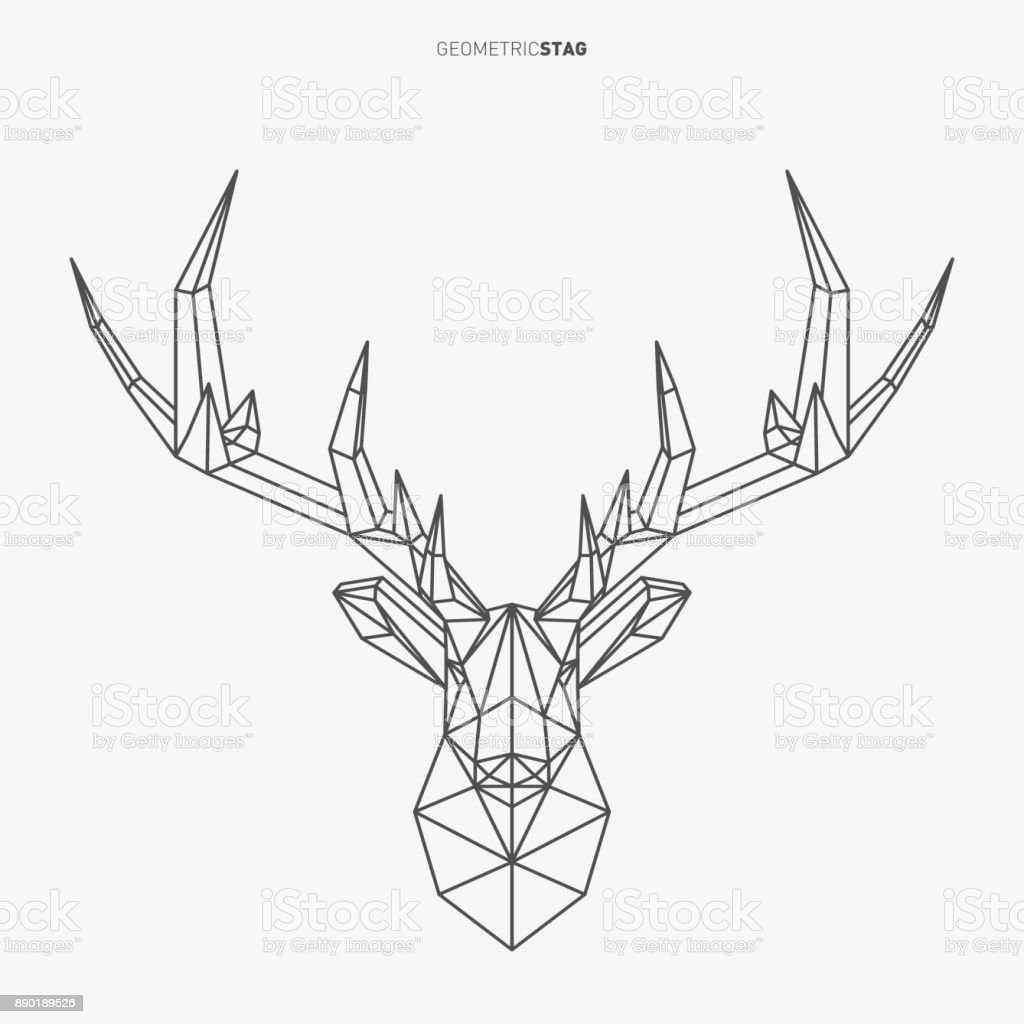 Drawing Vector Lines In Photo : Geometric stag line art stock vector more images of