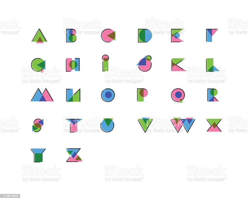 Stylisé rehaussée d'un imprimé géométrique, effet anaglyph surimpression police. - Illustration vectorielle