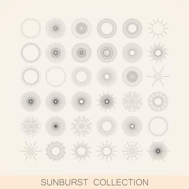 illustrazioni stock, clip art, cartoni animati e icone di tendenza di geometrica decoro e raggio di luce shapes. elemento di design collezione - motivo concentrico