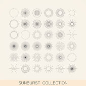 geometric sunburst and light ray shapes. design element collection