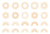 Set of geometric sun rays. Vector design elements on a white background.