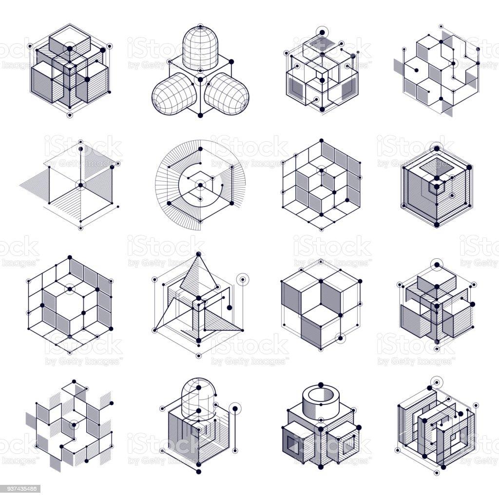 Technologies Geometrique Vector Dessins Noir Et Blanc Ensemble 3d
