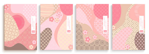 Geometric template in traditional Japan style. Geometric template in traditional Japan style, modern abstract covers set. Template for flyers, banners, brochures. Landscape background with Japanese pattern.Asian poster design. Vector illustration. japanese culture stock illustrations