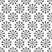 Geometric tiny black circle floral seamless pattern.