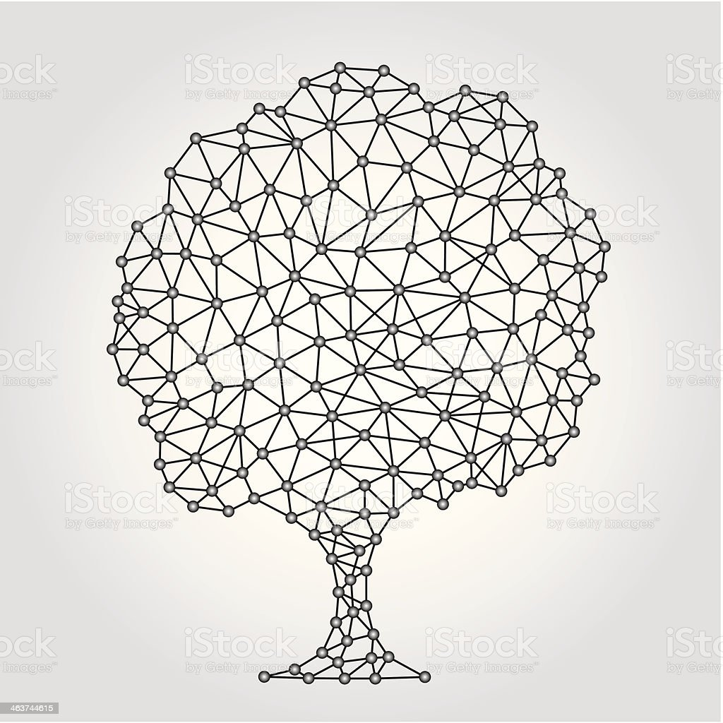 Geometric Tree background with lines vector art illustration