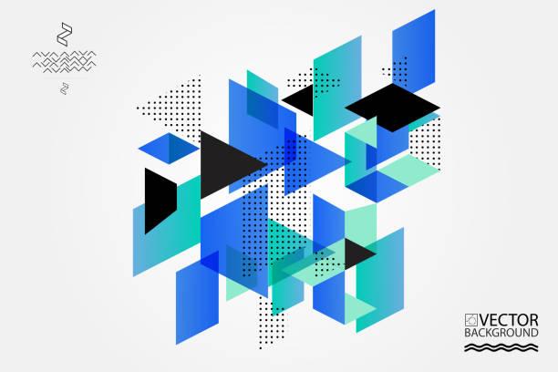 stockillustraties, clipart, cartoons en iconen met geometrische trendy afbeelding achtergrond, plakkaat, plat en 3d-designelementen. retro art voor covers, banners, flyers en affiches. - veelvlakkig
