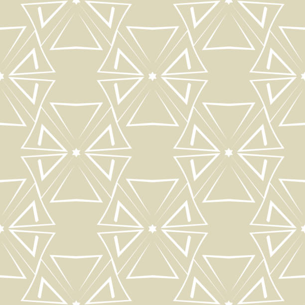 Bекторная иллюстрация Geometric triangle print. White seamless pattern on olive green background