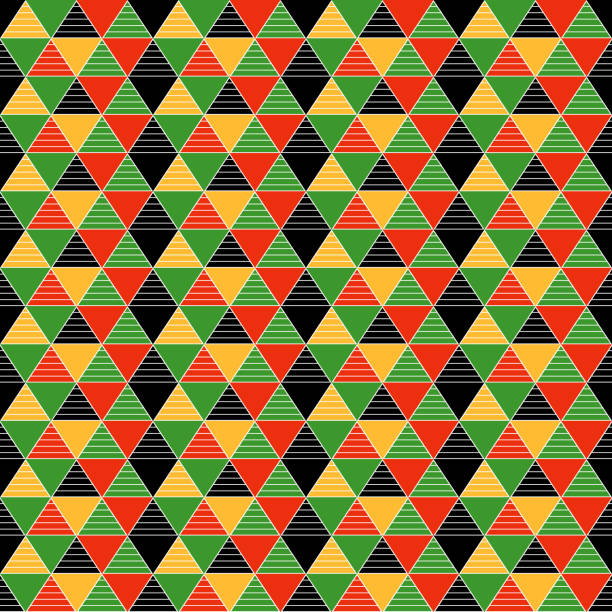 geometric triangles seamless pattern - kwanzaa stock illustrations
