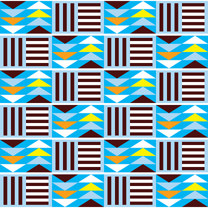 Geometric tribal Kente seamless vector pattern, African nwentoma mud cloth style inspired vector design