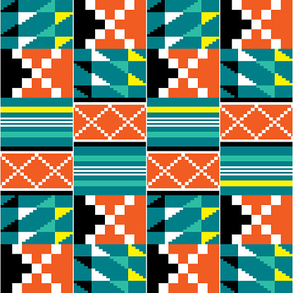 Geometric tribal Kente vector seamless pattern, African vibrant nwentoma cloth style ornament with abstract shapes perfect for fabrics and textiles